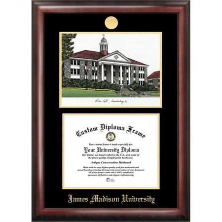 Campus Images VA994LGED James Madison University Gold embossed diploma frame with Campus Images lithograph James Madison University Lithograph