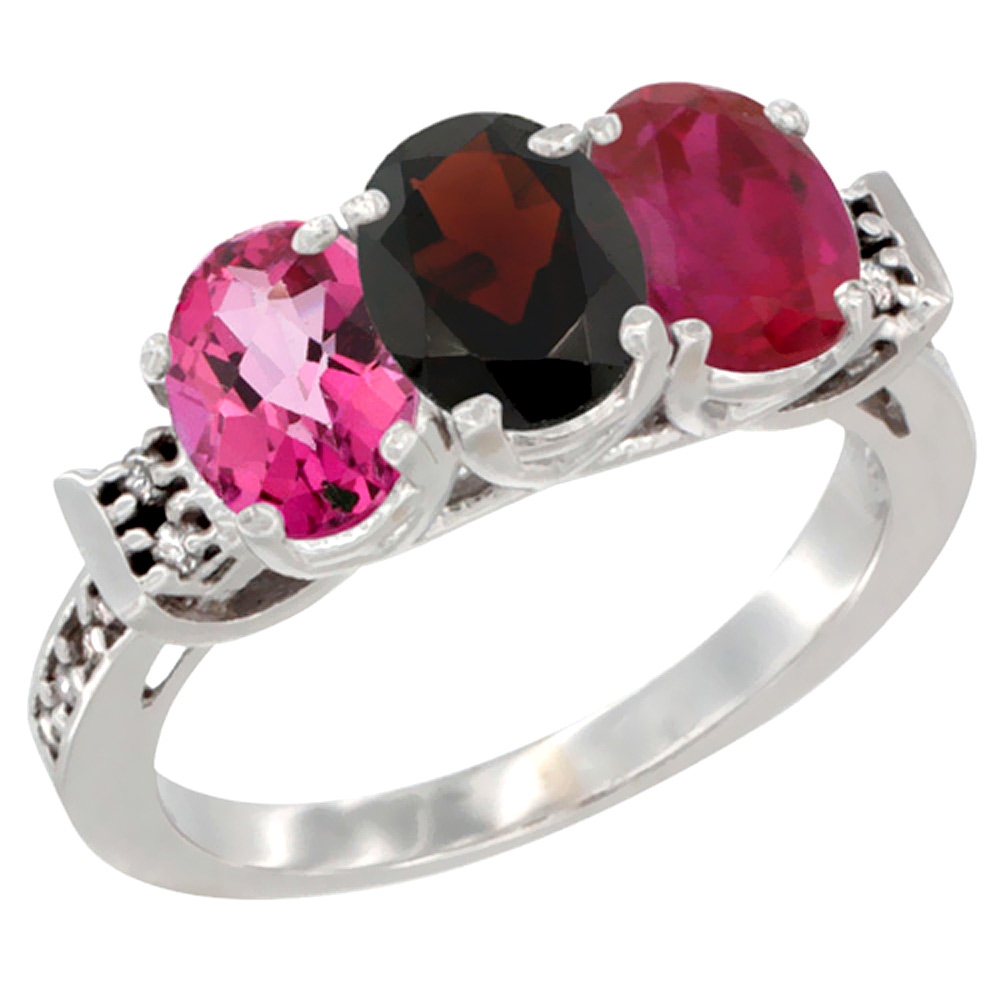 10K White Gold Natural Pink Topaz, Garnet & Enhanced Ruby Ring 3-Stone Oval 7x5 mm Diamond Accent, sizes 5 10 by WorldJewels