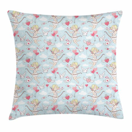Angel Throw Pillow Cushion Cover, Cupid Girls Winged Hearts Flying in the Sky Doves Clouds Happiness, Decorative Square Accent Pillow Case, 18 X 18 Inches, Blush Coral Baby Blue White, by Ambesonne (Flying Heart)