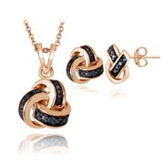 Rose Gold Tone Black Diamond Love Knot Necklace & Earrings Set