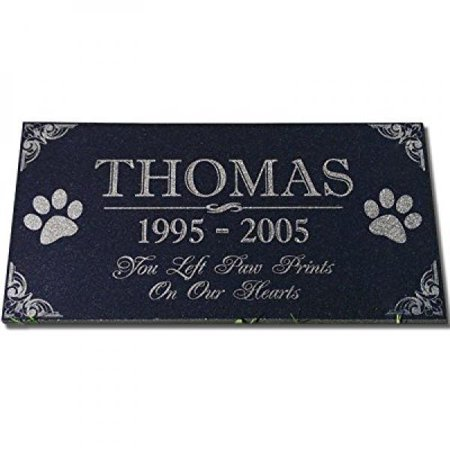 You Left Paw Prints On Our Hearts Pet Memorial Stones Personalized Headstone Grave Marker Absolute Black Granite Garden Plaque Engraved With Dog Cat