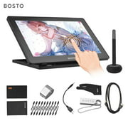 BOSTO 16HDT Portable 15.6 Inch H-IPS LCD Graphics Drawing Tablet Display Support Capacitive Touchscreen 8192 Pressure Level Active Technology USB-Powered Low Consumption Drawing Tablet with Interactiv
