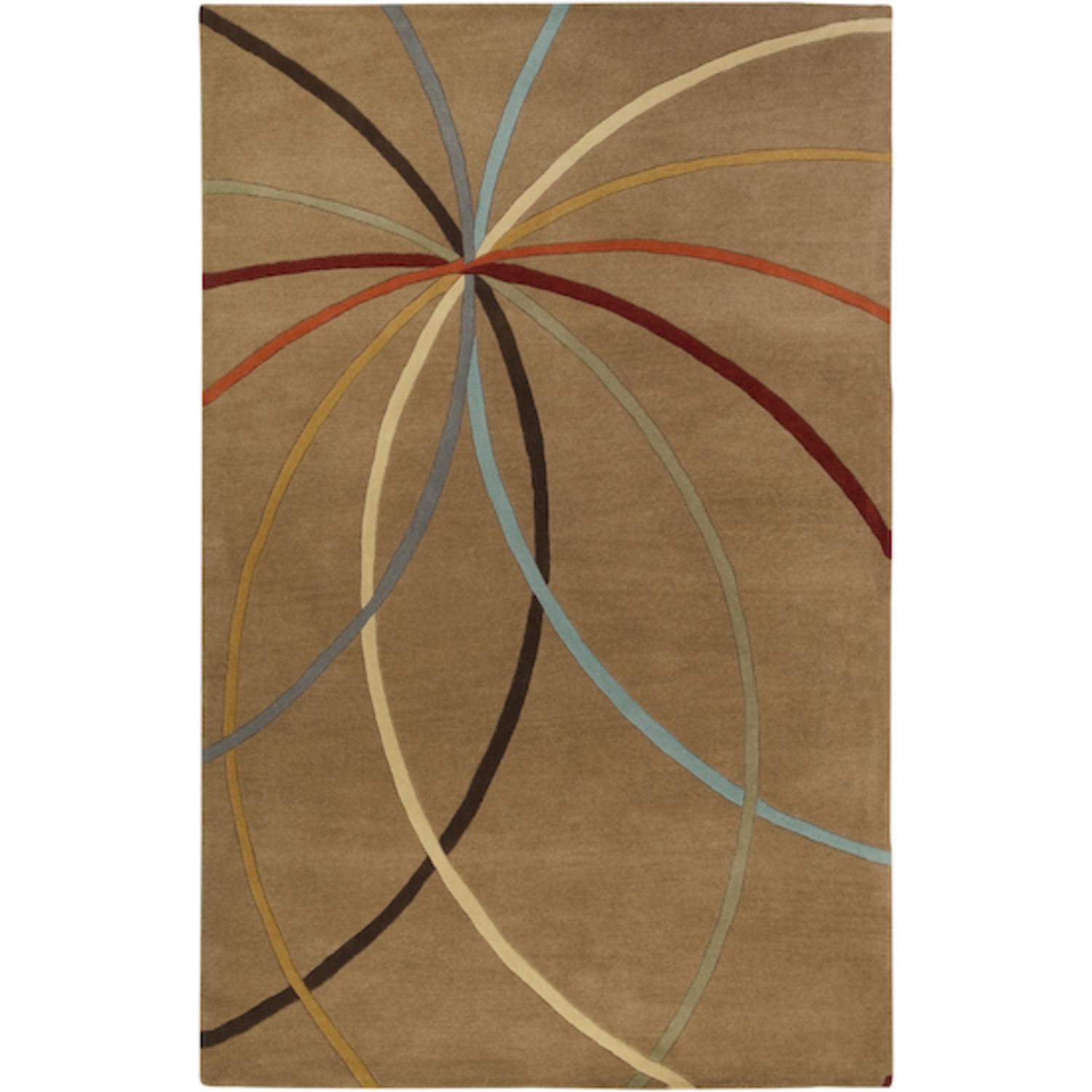 9' x 12' Plasma Elektra Contemporary Multi-Colored and Tan Wool Area Throw Rug
