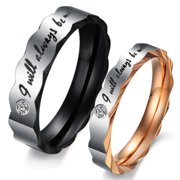 """His or Her Promise Ring """"Will always be with you"""" Couple's Matching Wedding Bor in Stainless Steel, for Men or Women, Comfort Fit (Style 3d5607)"""