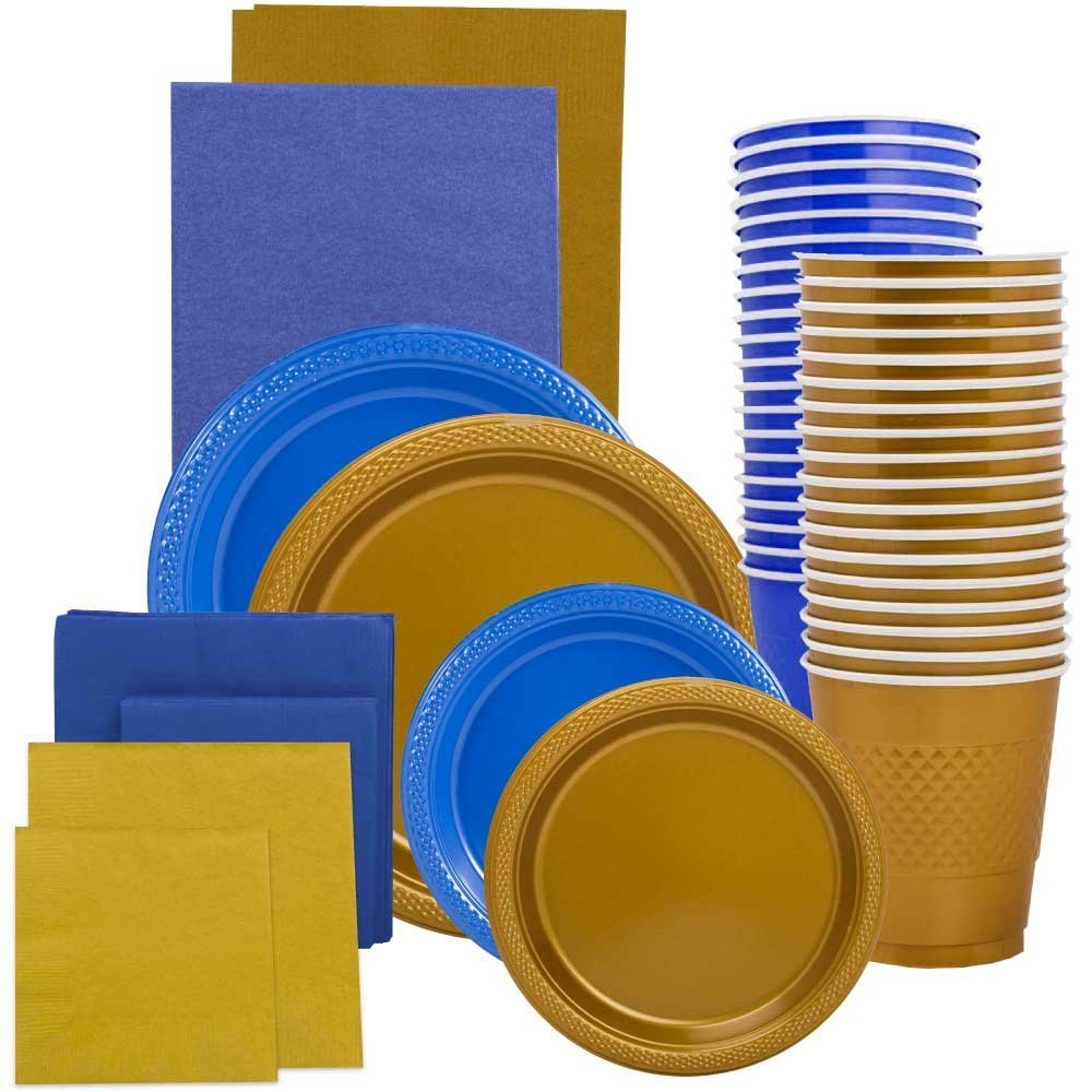 JAM Paper Party Supply Assortment, Blue & Gold Grad Pack, Plates (2 Sizes), Napkins (2 Sizes), Cups & Tablecloths, 12/pack