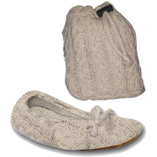 MUK LUKS - Acrylic Cable Knit Travel Ballerina Slipper with Matching Bag