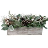 """20"""" Pine Needle and Glitter Berries with Pine Cone Arrangement in a Rustic Wooden Box Centerpiece"""
