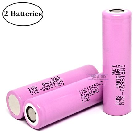 Samsung INR 18650 30Q 3000mAh 15A Rechargeable High Drain Flat Top Battery (2 (Best Rechargeable D Batteries)