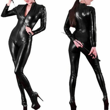 Women Leather Bodysuit Long Sleeve Zipper Skinny Pants Bodycon Jumpsuit Teddy Lingerie Catsuit Black Vinyl Long Sleeve Catsuit