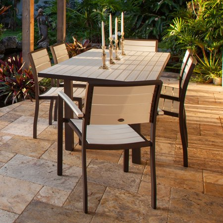 POLYWOOD® Euro Dining Set with Aluminum Frame - Seats (Grey Anodized Aluminum Box)