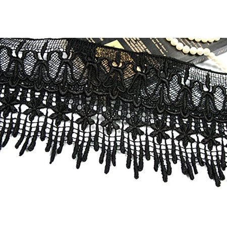 """5.75"""" Embroidered Venise Lace Trim Black White Green Gray Pink by Yard (Black)"""