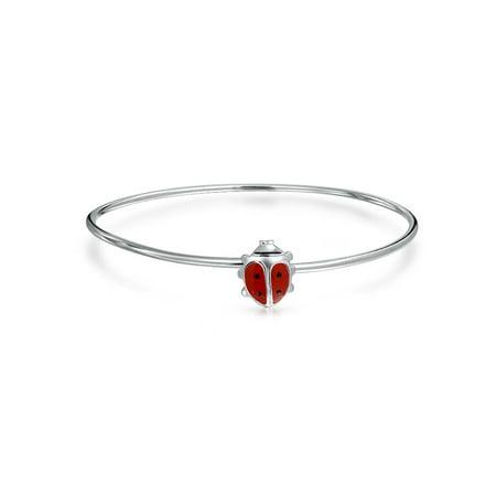 Enameled Ladybug (Tiny Red Enamel Small 6 Inch Lucky Charm Ladybug Bangle Bracelet For Teen 925 Sterling Silver)