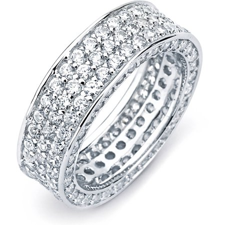 Pave Beetle (Pave CZ Sterling Silver 3-Row InsideOut Eternity Band, Available in 7 Sizes)