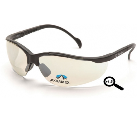 Pyramex V2 Readers Glasses - Indoor/Outdoor Mirror + 1.5 Lens, Black Frame SB188