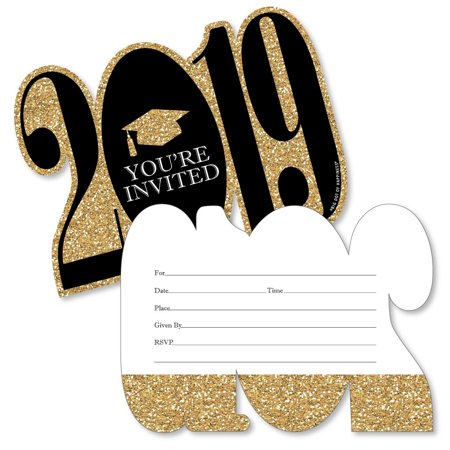 Gold - Tassel Worth The Hassle - 2019 Shaped Fill-In Invitations - Graduation Party Invitation Cards/Envelopes - 12 Ct