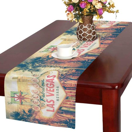 MKHERT Vintage Las Vegas Boulevard Entrance Sign City View Table Runner for Office Kitchen Dining Wedding Party Banquet 16x72 Inch