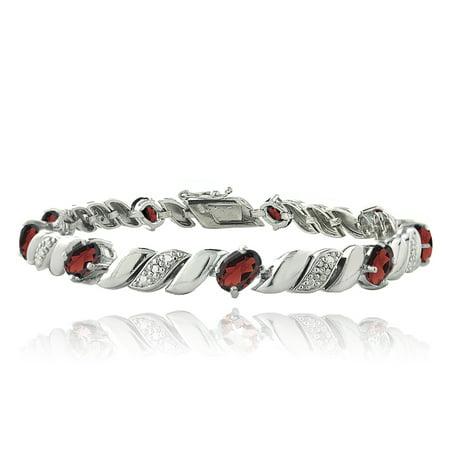 Silver Tone 5ct Garnet & Diamond Accent San Marco Bracelet