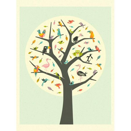 Tree of Life Colorful Whimsical Birds Botanical Print Wall Art By Jazzberry Blue