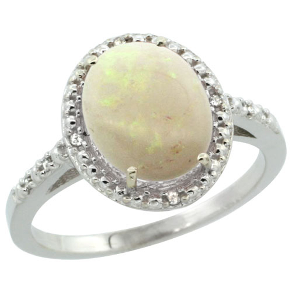 Sterling Silver Diamond Natural Opal Ring Oval 10x8mm, 1 2 inch wide, sizes 5-10 by WorldJewels