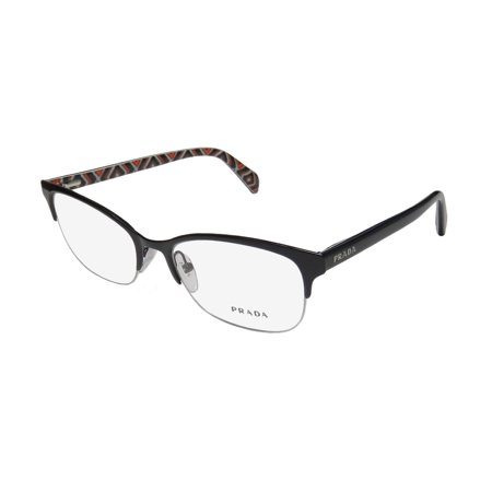 Prada Glasses Half Frame : New Prada Vpr60p Womens/Ladies Cat Eye Half-Rim Black ...