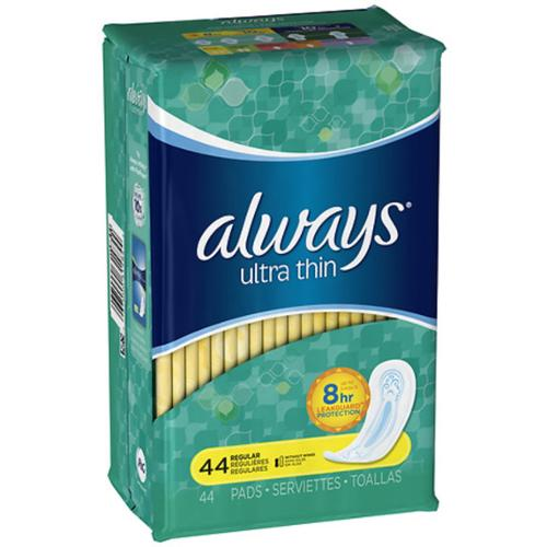 Always Ultra Thin Pads Regular 44 Each (Pack of 2)