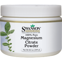 Swanson Magnesium Citrate Powder - 100% Pure 630 mg 8.6 oz Powder