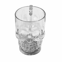 Clear Skull Head Liquid Activated LED Light Mug Luminescent Cup Halloween Party Supply