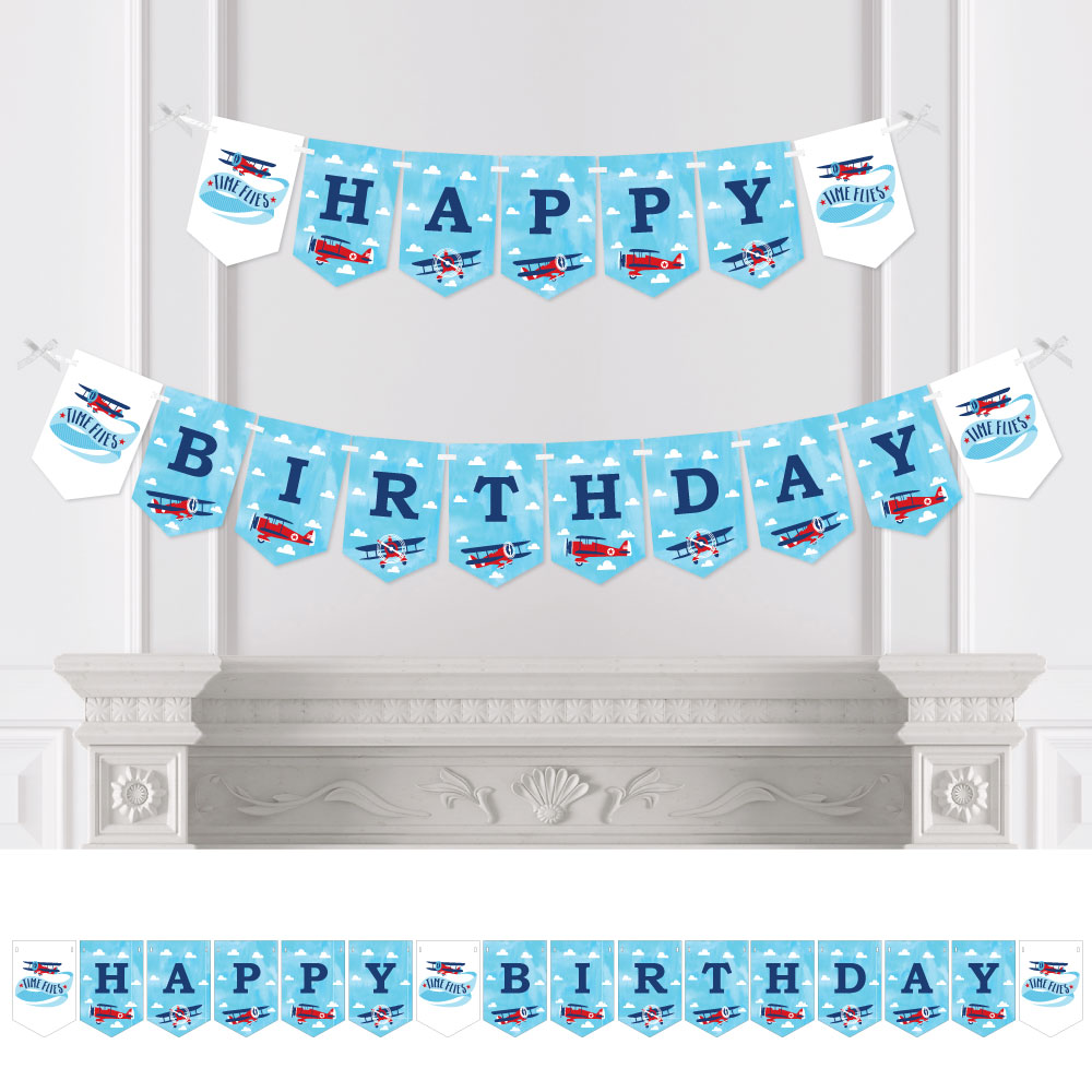 Taking Flight - Airplane - Vintage Plane Birthday Party Bunting Banner - Birthday Party Decorations - Happy Birthday