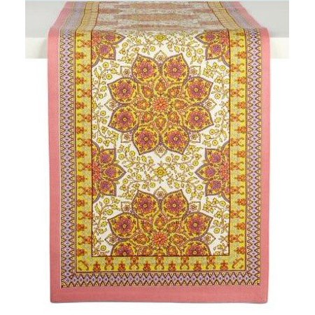 Nantucket Home Floral English Cotton Table Runner, 13-Inch x 72-Inch (Coral) ()