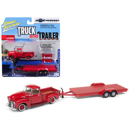 Old Red Pickup Truck (1950 Chevrolet Pickup Truck Gloss Red w/ Open Car Trailer Ltd Ed 6016 pcs 1/64 Diecast Model Car by Johnny Lightning)