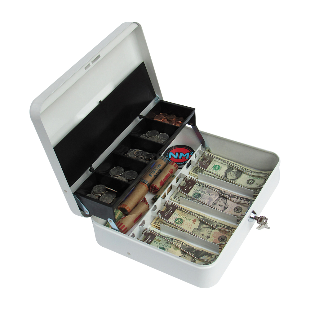 ash Box with Money Tray | Petty Cash Lock Box | Includes Tiered Design with Cash Tray for Bills and Coins | Portable Money Box | Ideal for Cash Registers and Petty Cash | Secure Lock with 2 Keys