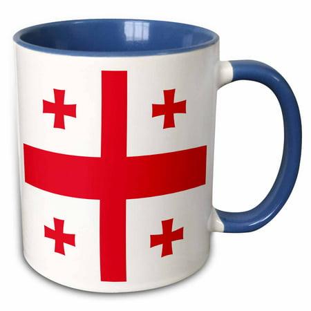 3dRose Flag of Georgia - Georgian Red Jerusalem Crusaders Cross on white -  crosslets - St George - world - Two Tone Blue Mug, 11-ounce