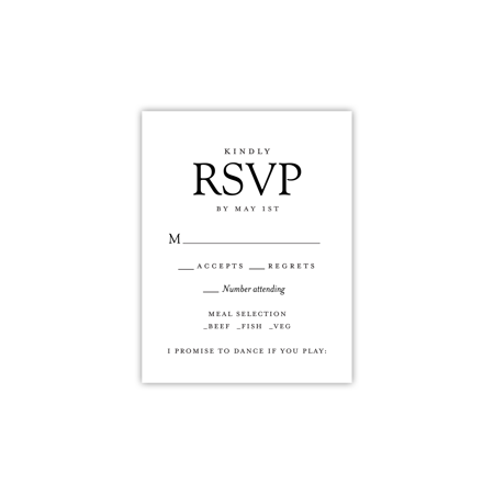 Personalized Wedding RSVP - Modern Simplicity - 4.25 x 5.5 Flat](Black And White Wedding Invitations)