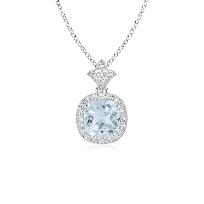 March Birthstone Pendant Necklaces Claw Set Aquamarine Diamond Pendant with Milgrain Detailing in 950 Platinum (6mm... by Angara.com