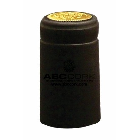 100 Shrink Caps - Solid Black - Matte - with Tear (White Willow Bark 100 Caps)