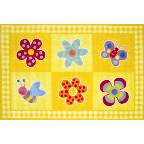 Fun Rugs Olive Kids Flowerland Flower Yellow Area Rug