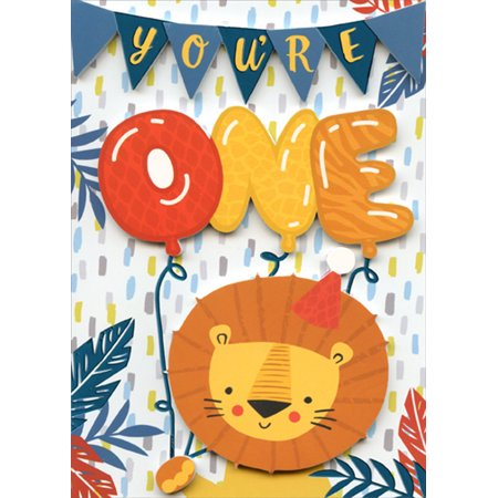 Paper House Productions Lion and Balloons 3D Tip On Age 1 / 1st Birthday Card - 3d Halloween Card