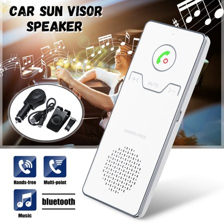 Car Wireless bluetooth Hands Free Speakerphone Multipoint Speakerphone Kit Car Sun Visor Hands-free Phone Audio Music Receiver Devices + Car Charger + USB Cable (Kit De Cables Car Audio)