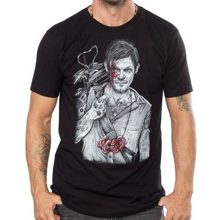 BLACK MARKET ART Wayne Maguire Walking Dead Daryl Dixon Tattoo T-Shirt S-2XL NEW](Daryl Dixon Vest Halloween)