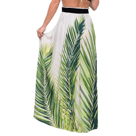 Women Party Holiday Floral Print Elasticated Waist Full Length High Waist Pleated Beach Jersey Gypsy Long Maxi Skirt Wrap Dress ()