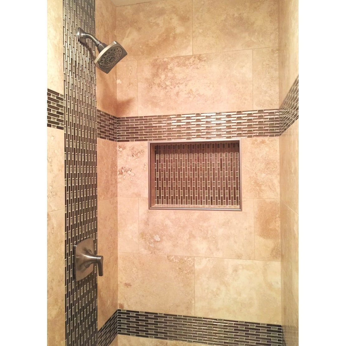 """Ready to Tile Leak Proof 17/"""" x 17/"""" Square Bathroom Recessed Shower Niche Shelf"""