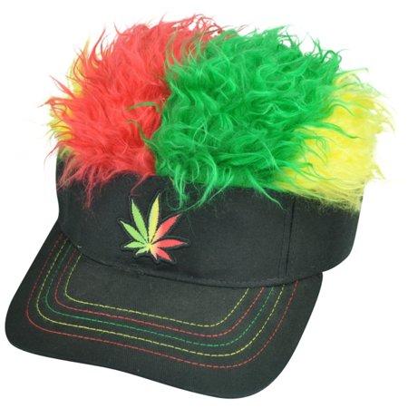 Marijuana Cannabis Jamaica Flair Faux Fur Hair Visor Adjustable Hat Sun Weed Cap](Flair Hair Visor)