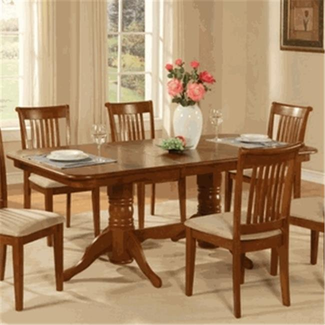 Napoleon double pedestal rectangular round corner dining room table with 17  in. butterfly leaf finish in brown, Saddle Brown - Walmart.com