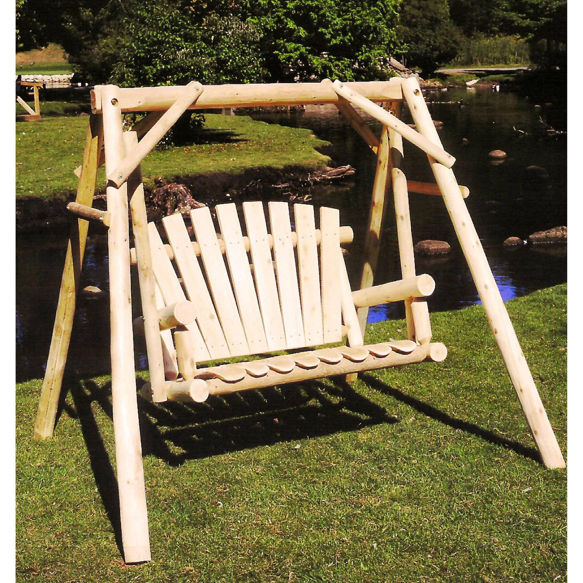 Lakeland Mills White Cedar Log Porch Swing and Stand Set by Lakeland Mills