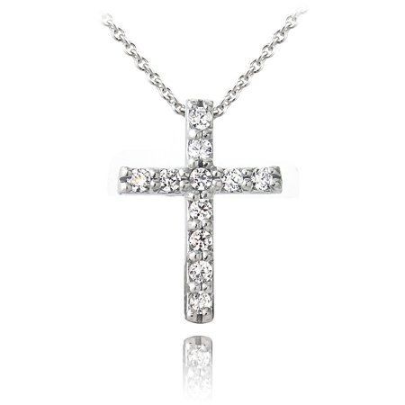 Zirconia Ice Swarovski Zirconia Sterling Silver Cross Pendant, 18