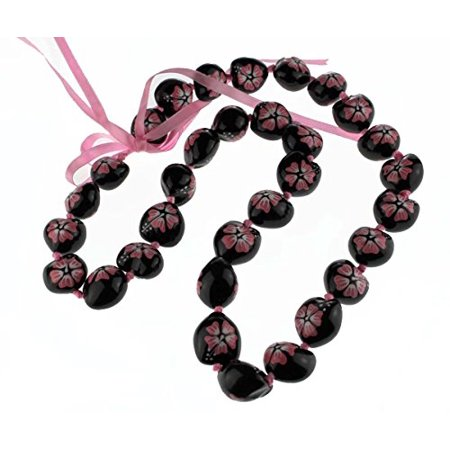 Hawaii Black Kukui Nut Leis with Flower Necklace 30 Inches (Black with Pink flower) (Hawaiian Flower Necklace)