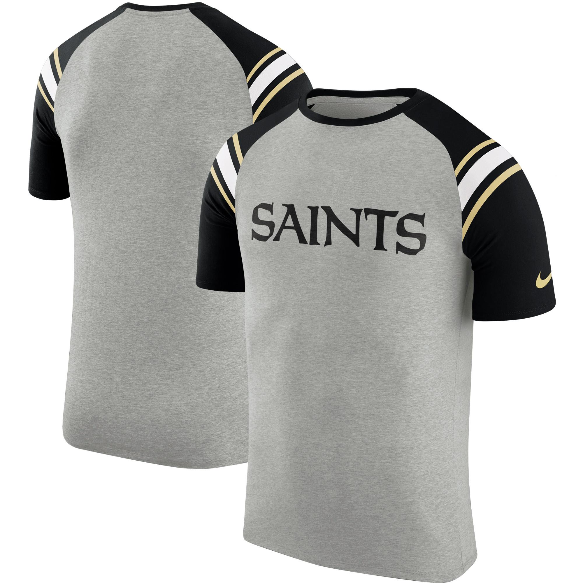 Men's Nike Heathered Gray New Orleans Saints Enzyme Shoulder Stripe Raglan T-Shirt