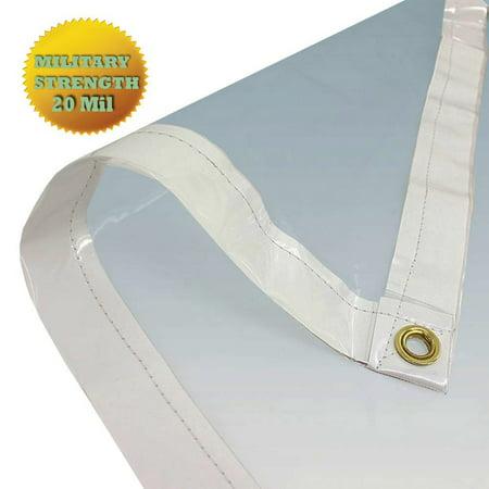 Vinyl Tarp - 8' X 12' Clear Tarp PVC Vinyl Tarp (Finished Size 7'6