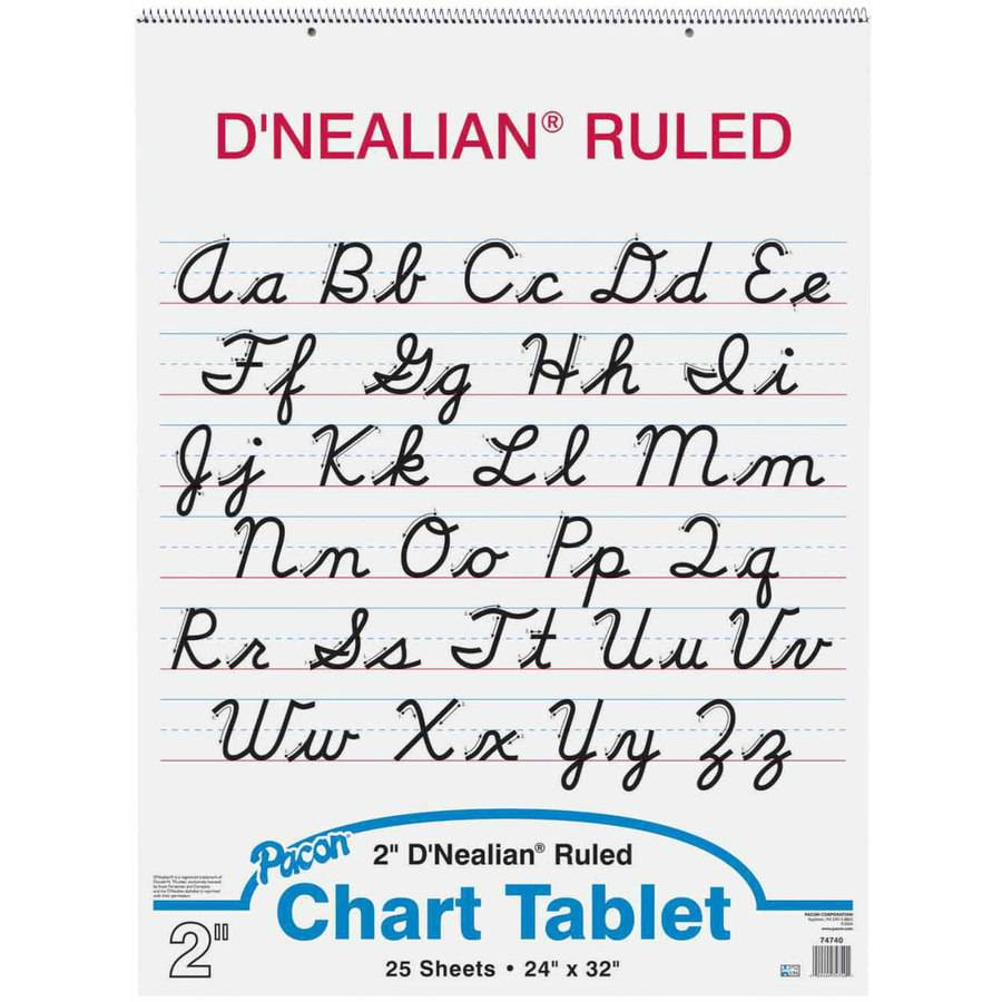 worksheet D Nealian Cursive Worksheets pacon dnealian 2 hole punched cursive cover chart tablet 24 x 32 25 sheets ruling 1 ski