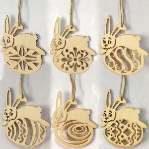 Fancyleo 6PCS Easter Small Pendant, Wooden Easter Bunny Pendants Best Choice for Home